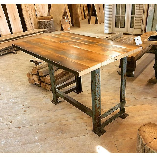 We made this very cool kitchen island from a reclaimed factory base with a reclaimed spruce boardstock top. It turned out great! The customer picked out all of the materials while walking around our showroom and the result is beautiful! #interiordesign #reclaimedwood #reclaimed #rusticdesign