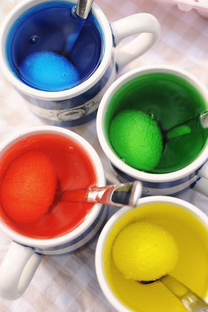 Dyeing eggs with food coloring - See tutorial on website. X