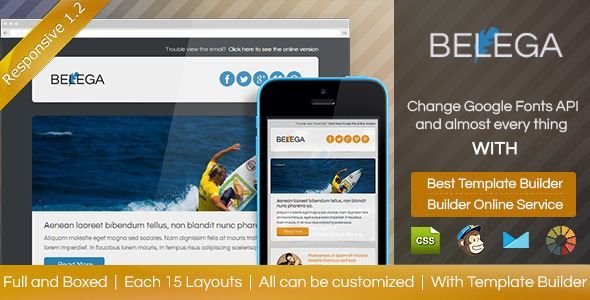 ThemeForest - BELEGA-Flat Responsive Email With Template Builder Free Download