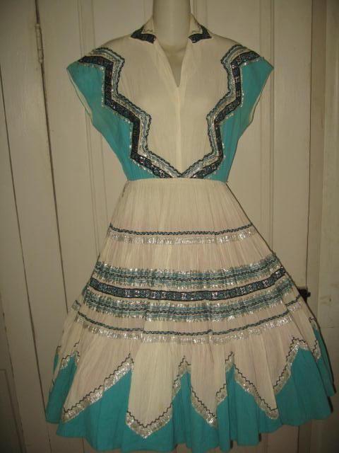 Vtg Patio Squaw Circle Skirt Dress Teal w Silver Black RicK Rack M Square Dance #RM