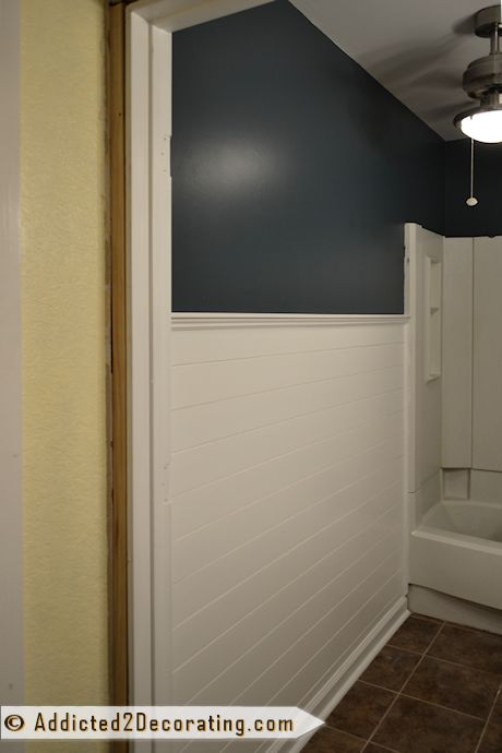 Bathroom Makeover Day 10: The Wall Color. Is It Navy Blue? Forest Green