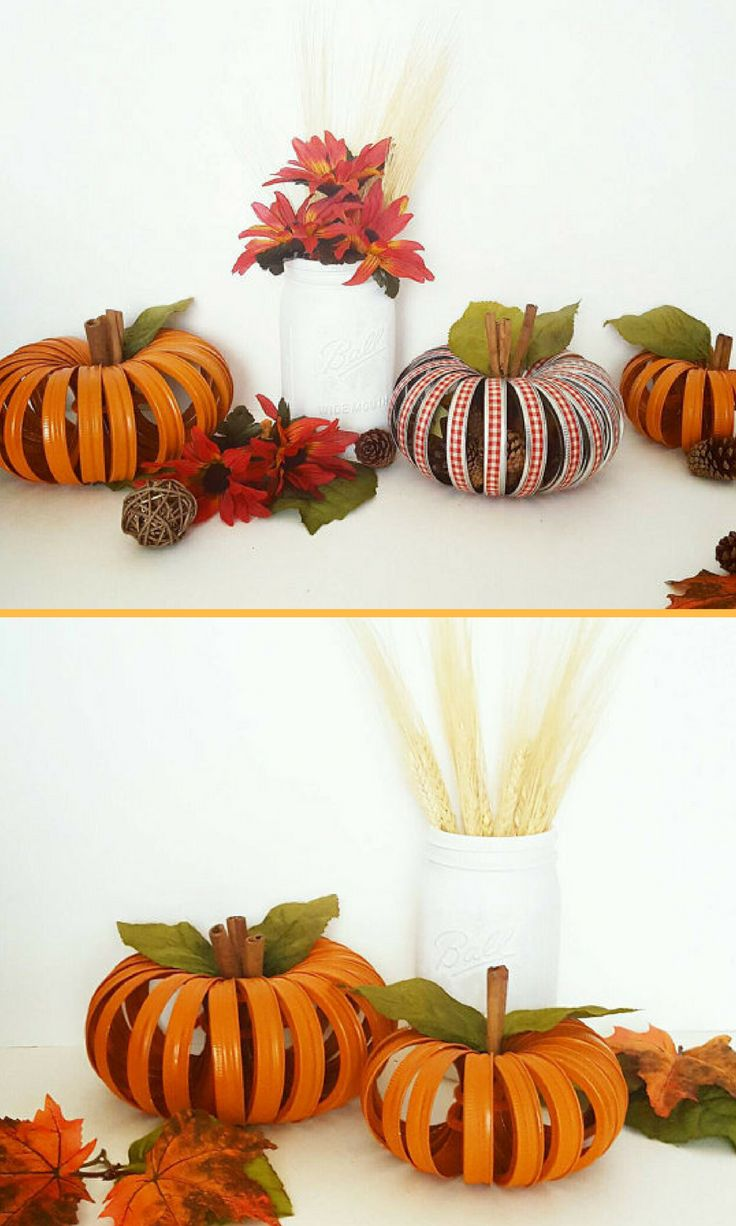 Fall Pumpkin Home Decor. This shabby chic pumpkin is made with wide mouth canning rings. Each lid has been hand painted and tied together with a small bunch of cinnamon sticks! (affiliate)