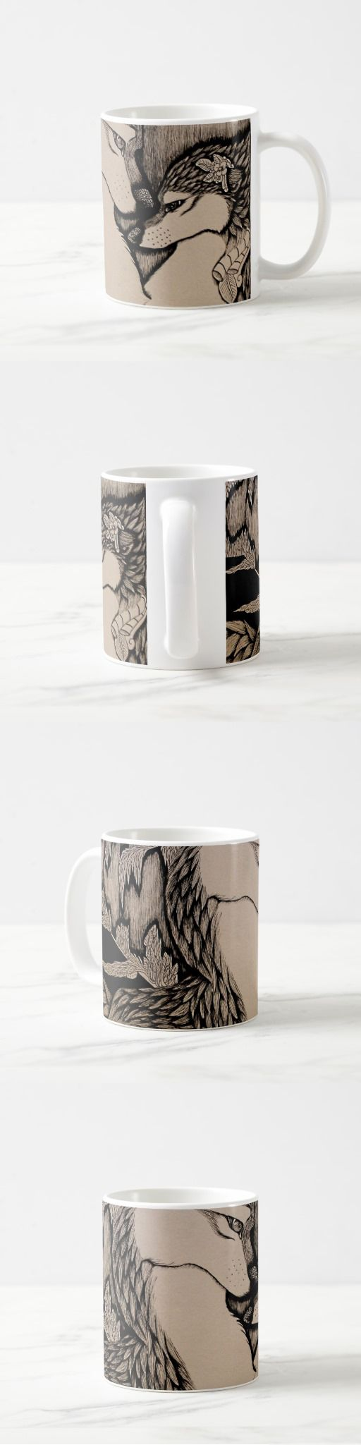 """An afternoon walk"" Coffee Mug  #wolf #wolves #cute #couple #pair #art #illustration #sepia #blackandwhite #products #items #stuff #pendrawing #abstract #detailed #canine #animal #decor"