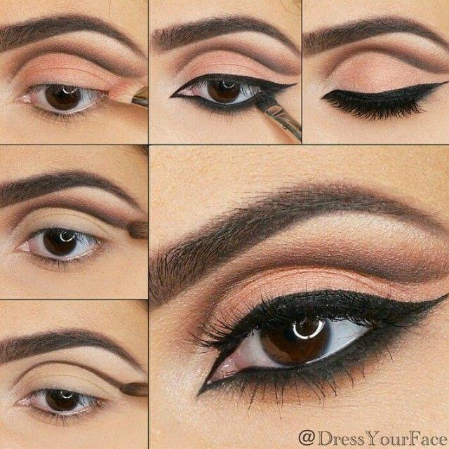 Cut crease peach brown makeup #tutorial #maquiagem #evatornadoblog Персиково-коричневый макияж с проработкой складки века -урок