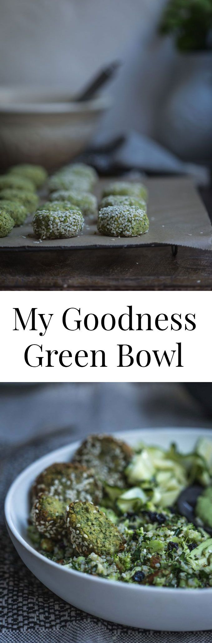 With green spiced falafel, broccoli and spinach tabouleh and coriander green goddess dressing, My Goodness Green Bowl is super charged with good stuff.