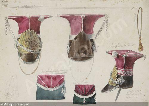 RAFFET Denis Auguste Marie - 1) Études de coiffures militaires (lancier, garde royal); 2) Études de croupières, rênes et licols pour chevaux militaires