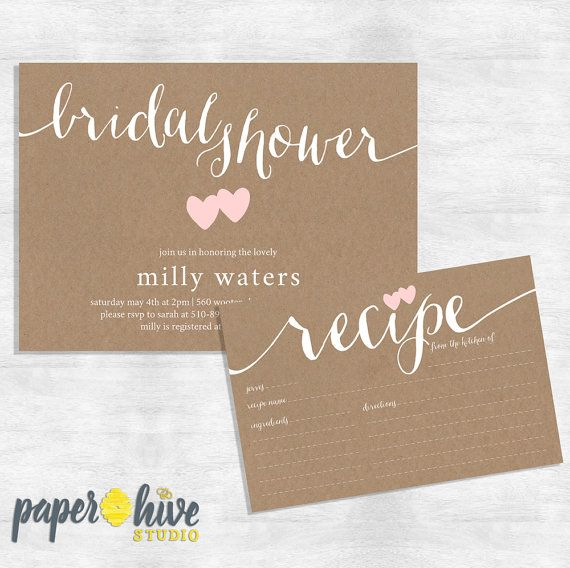 Rustic Bridal Shower Invitation and recipe card set /Kraft Bridal Shower suite / printable invite or printed cards