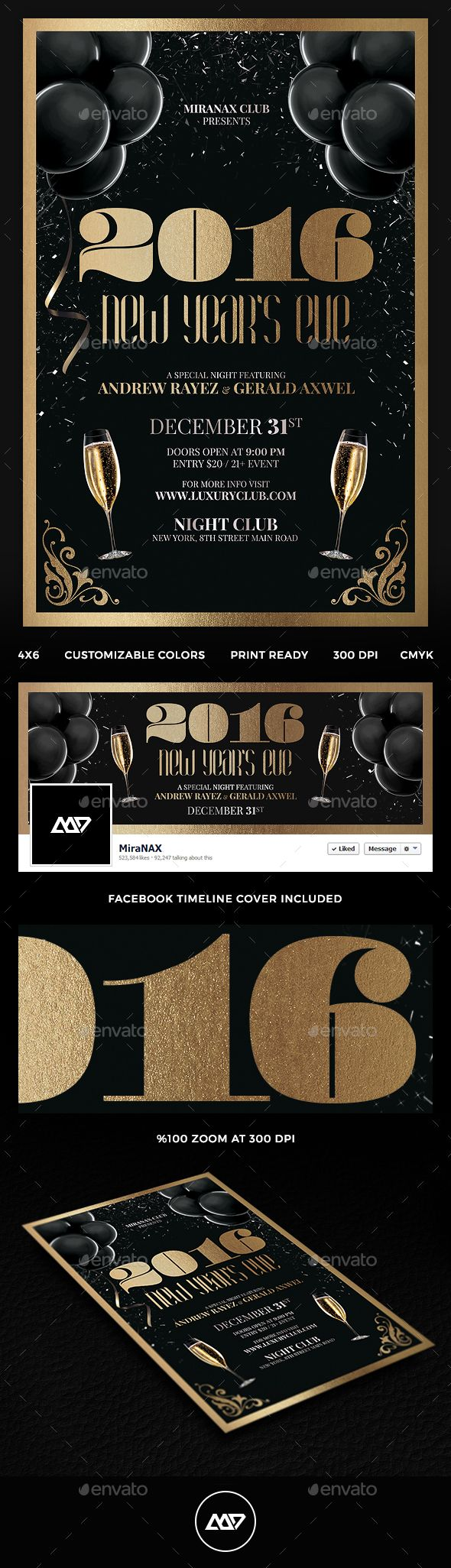 New Year Party Flyer Template PSD #design Download…