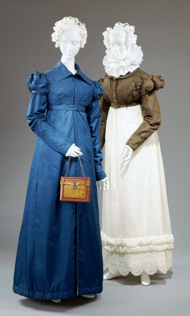 Day dress (right), 1820-22, American. Pelisse (left), 1818-24, Scottish.