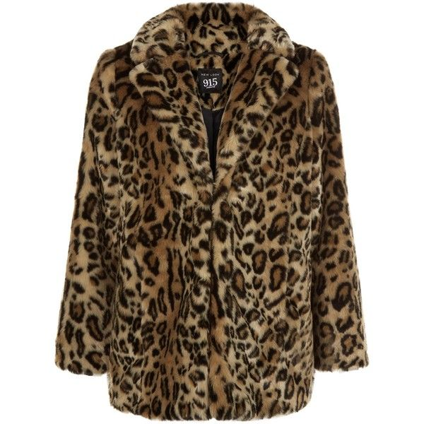 New Look Brown Leopard Print Faux Fur Coat ($25) ❤ liked on Polyvore featuring outerwear, coats, jackets, brown pattern, leopard coat, leopard print coat, long sleeve coat, pattern coat and imitation fur coats