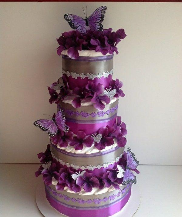 windeltorte purpurrot basteln anleitung babygeschenke geburt violett