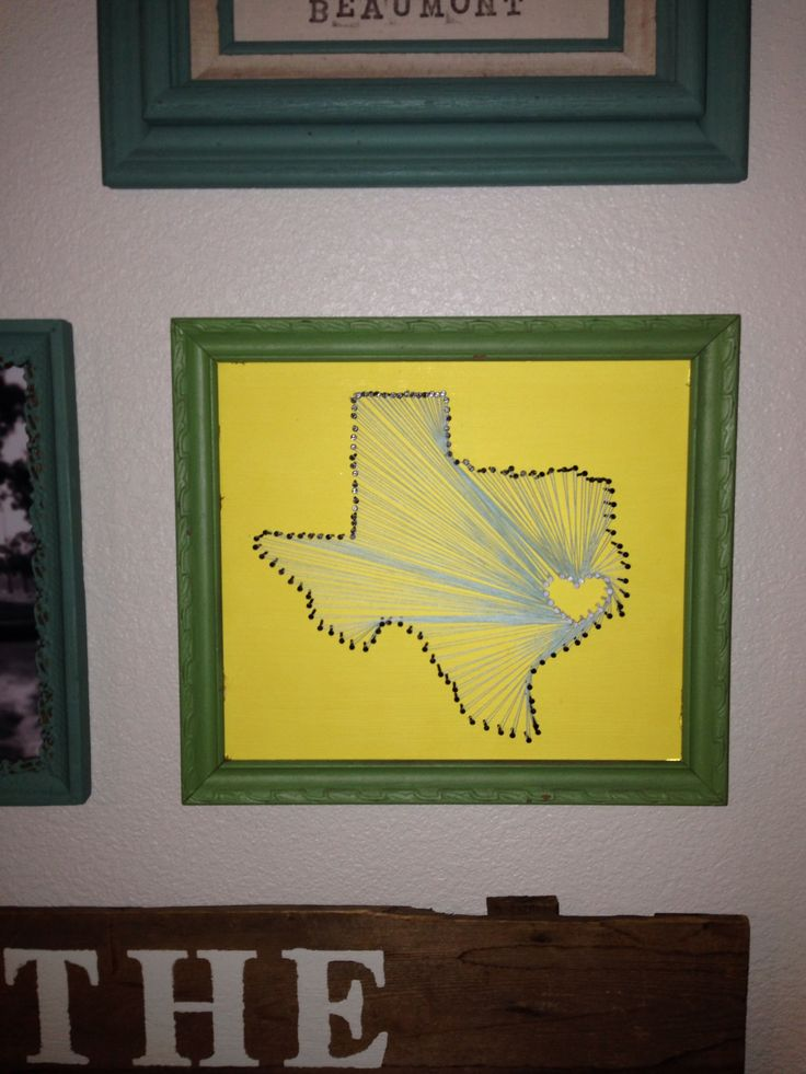 DIY picture frame with painted wooden board. Hammer nails in shape of your state and heart at your towns locations and loop with string, WALL ART