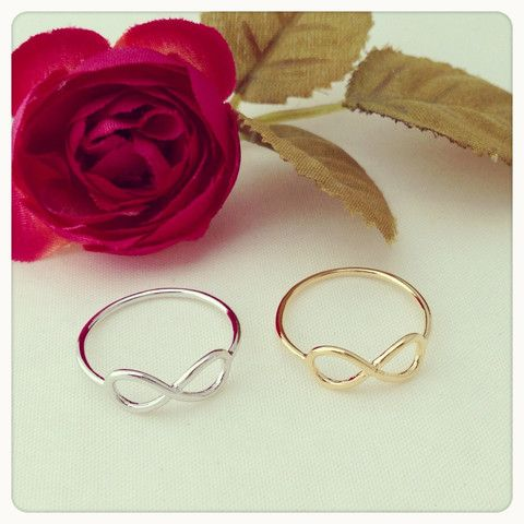 Infinity rings available in silver or gold