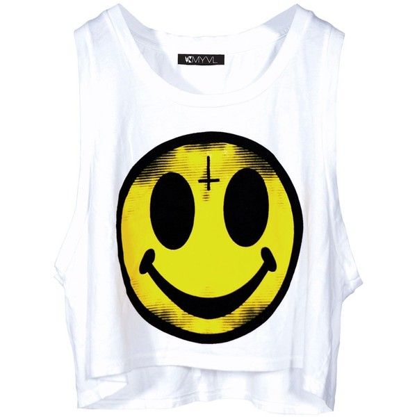 Evil Smiley Face Top ($18) ❤ liked on Polyvore featuring tops, shirts, tank tops, blusas, yellow top, yellow tank, yellow shirt, yellow tank top and shirt top