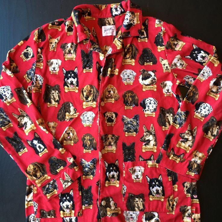 Nick and Nora Pajama Top Red Dogs Milk Bone Flannel XL 14/16    eBay