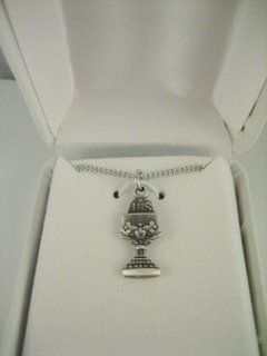 "Antique Silver Pewter Chalice Necklace  On 16"" chain in White Leather Box. Appropriate for a First Communion gift.  $15.00"