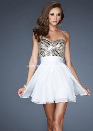 White Short Homecoming Dress by La Femme 18445 for Cheap