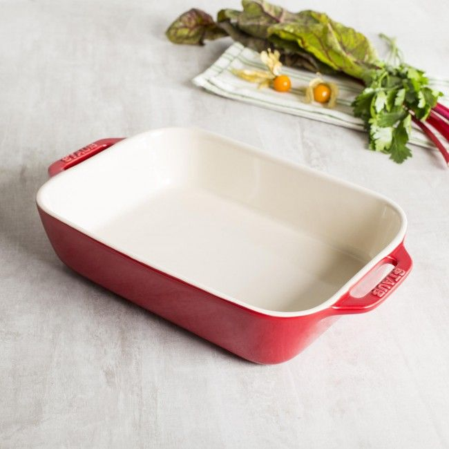 Staub stoneware bakers distribute and hold heat gently and won't absorb moisture, so foods bake to a moist, tender, golden finish without drying out.