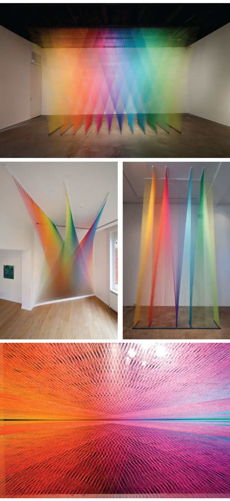 Coloured Thread Installations by Gabriel Dawe.