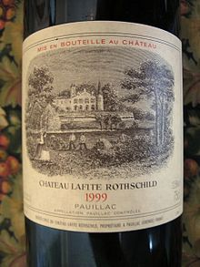 Château Lafite Rothschild label from the 1999 vintage - The record price at auction for a bottle of wine ($156,000) was for a 1787 Château Lafite which was once thought to be owned by Thomas Jefferson.The authenticity of the bottle, however, has been challenged