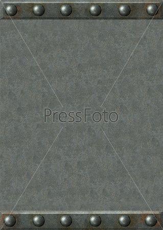 Лист металла с рамкой из металлических пластин с заклепкам