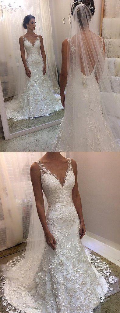 Glamorous Charming Ivory Lace Sheath Sleeveless Backless Charming Wedding Dress