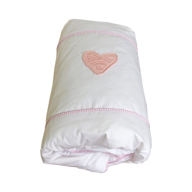 Pinstripe Pink Hand-crocheted Hearts - Cot Duvet Cover