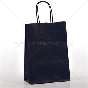 Premium Papiertragetaschen mit Kordelgriffen dunkelblau