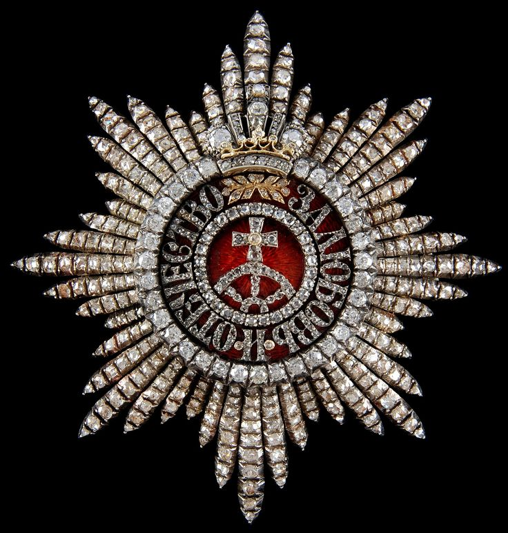 """Order of Saint Catherine (Russia) — Star of the First Class, From the Austrian Imperial Family (Gold, silver, enamel, over 400 diamonds (""""Altschiff"""": old-mine-cut, approx. 35 carats), made by the Austrian court jeweller, """"C.F.Rothe Wien"""") [obverse] https://www.winkler-auktion.de/auktionen/auktion2/St_Katharina_Orden/St_Katharina_Orden_Bruststern_zur_1_Klasse_mit_Brillanten_273.html"""