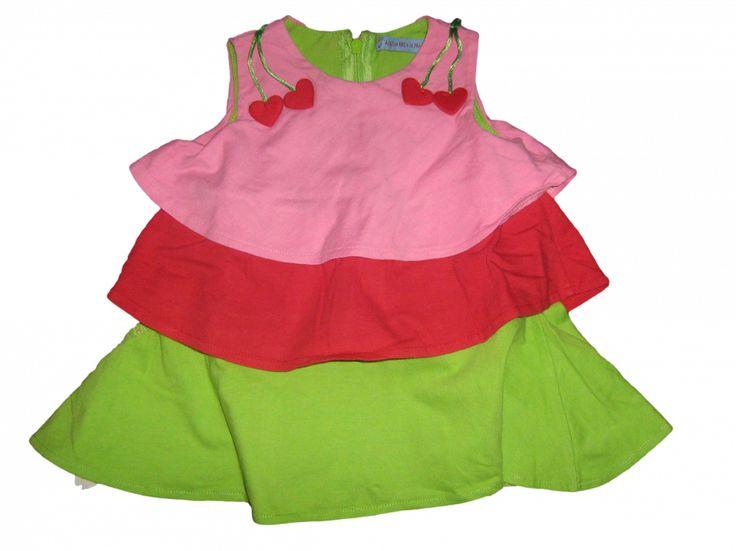 Maat 62 Jurk Roze/rood/groen met roezels en kersen op schouders Merk Agatha Ruiz de la Prada
