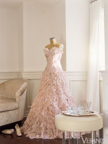 Jennifer Lopez pink gown on display in her in bedroom