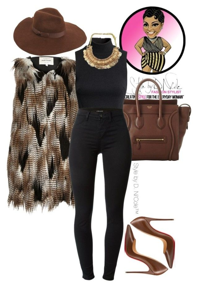 """Untitled #2922"" by stylebydnicole ❤ liked on Polyvore featuring CÉLINE, H&M, J Brand, Lack of Color and Christian Louboutin"