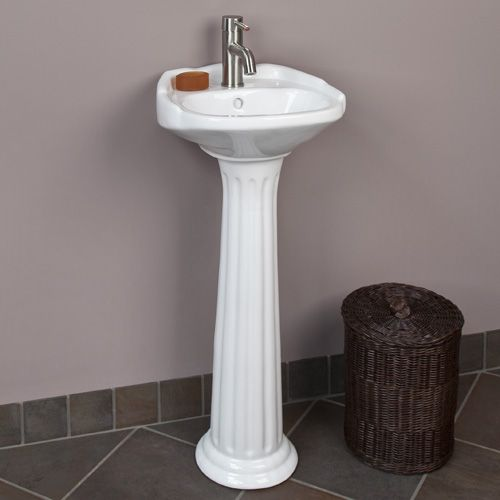 Ultra Petite Victorian Pedestal Sink with Single Faucet Hole