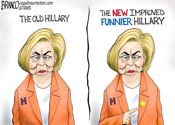 The New Hillary 2.0~Can the new Hillary Clinton be any different than the old?Some say she's try to reinvent herself into a more funnier Hillary~Cartoon by A.F. Branco 2015