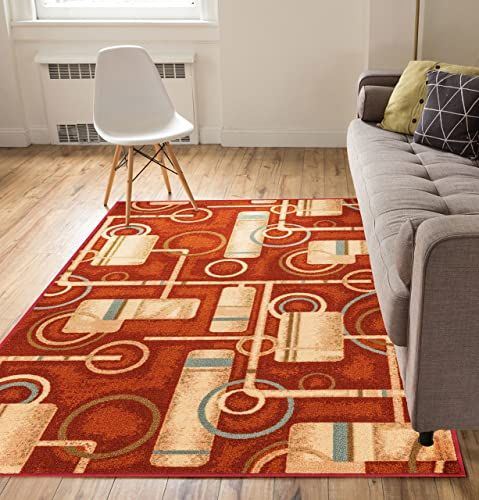 Chic Well Woven Non Skid Slip Rubber Back Antibacterial 8x10 7 10 X 9 10 Area Rug Soho Circles Red Modern Geometric Thin In 2020 Area Rugs Well Woven Area Rug Sizes