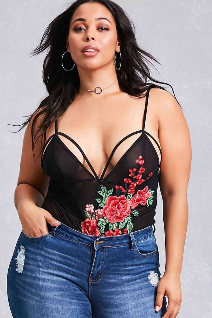 Forever 21+ - A sheer bodysuit featuring a strappy V-neckline, an embroidered floral design, adjustable cami straps and a dual snap-button closure.<p>- This is an independent brand and not a Forever 21 branded item.</p>