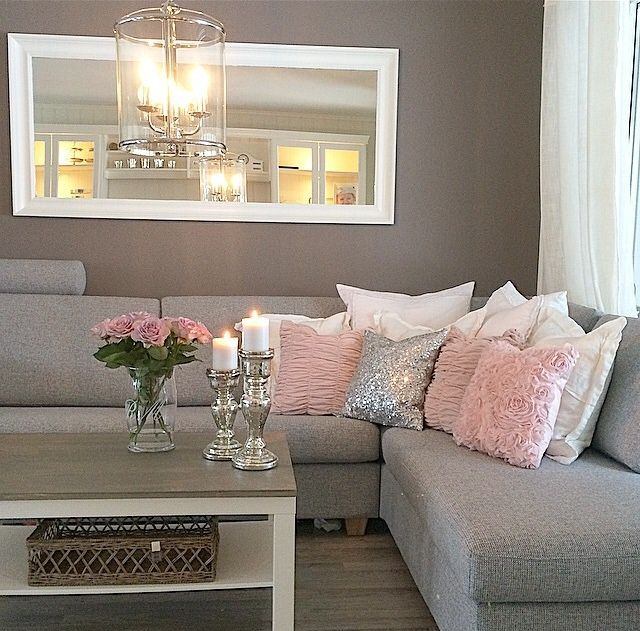 wall color grey and pink accent find this pin and more on lovely living rooms