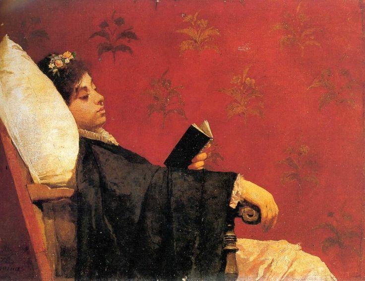 """Gioacchino Toma (Italian, 1836-1891) - """"Donna che legge"""" (Reading woman), c. 1880-85 - Napoli, Collezione Portolano"""