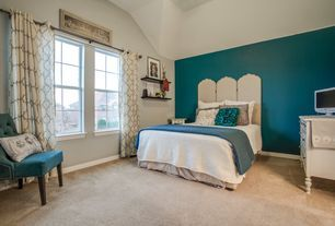 Transitional Guest Bedroom with Carpet, Madison Park Westmont Curtain Panel, Pottery Barn Kids Juliette Dresser, High ceiling