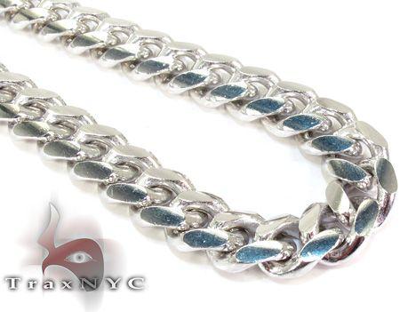 Miami Cuban White Silver Chain 32 Inches, 10mm, 174 Grams Mens Silver Chain .925 Silver - TraxNYC.com
