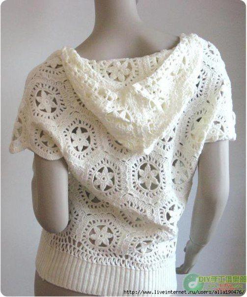 Delicadezas en crochet Gabriela: Suéter con capucha