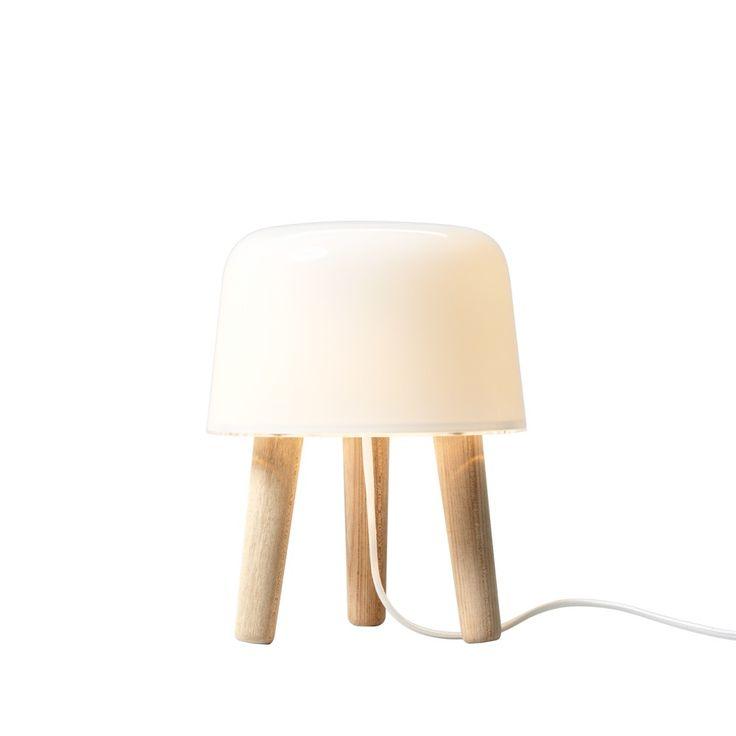 Milk bordslampa - Milk bordslampa - vitt glas, ben i ask, vit sladd
