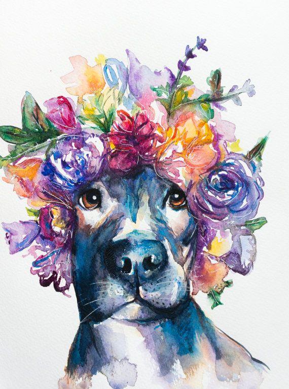 Original Pitbull Watercolor Painting Dog By