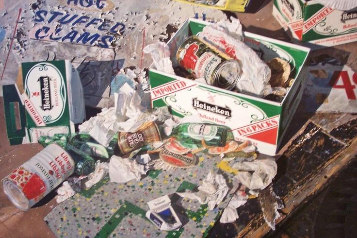 Idelle Weber (photorealist) - Heineken. I fell for this painting at the Kansas City Art Museum.