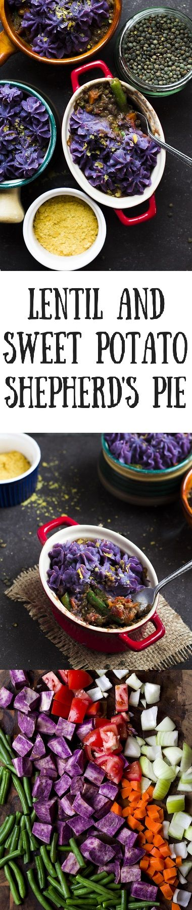 Wholesome and colourful Shepherd's pie with a nourishing lentil filling and vibrant purple topping