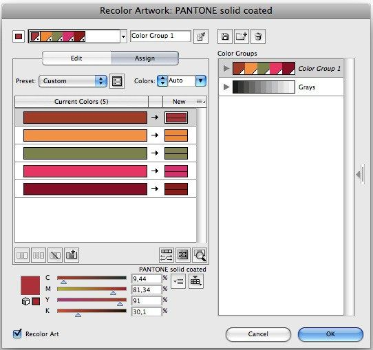 illustrator convert cmyk to closest pantone colour