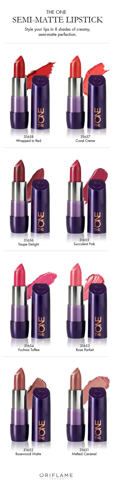 Discover 8 gorgeous shades of The ONE 5-in-1 Colour Stylist Cream Lipstick. Για αγορές εδώ http://gr.oriflame.com/recruits/online-registration.jhtml?sponsor=361593&_requestid=378352