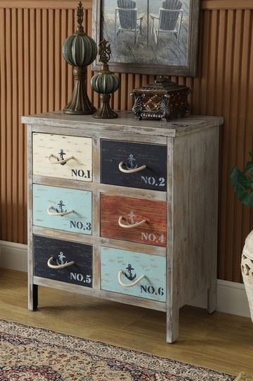 Love the chest! Nautical 6 Drawer Chest with Rope Pulls: Coast To Coast - Distressed Bayview Grey Accent Chest with Nautical-Themed Details - 46293