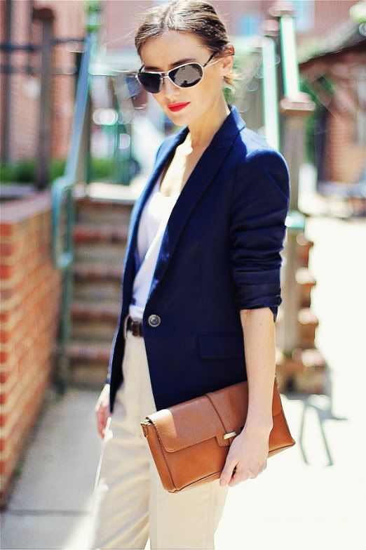 Classic Style Clothing For Women Women 39 S Fashion Wearing A Navy Blue Classic Blazer Beige