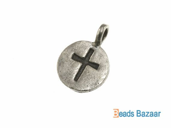 Cross Printed Round Charm, 10 mm - Karen Hill tribe silver